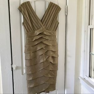 Adrianna Papell Shimmery Bronze 4 Sleeveless Dress